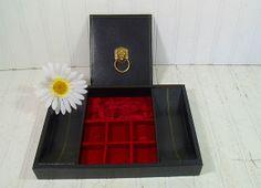 Vintage Black Leatherette Jewelry Box with Gold Trim - Retro Dresser Valet with Red Velvet Interior - Mad Men Accessories Vanity Organizer