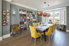 Love the grey walls, mustard velvet chairs,, and the floor colours.. nice modern and not like a magazine at all. Traditional Dining Room by Riach Architects