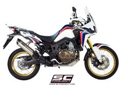 HONDA CRF1000L AFRICA TWIN EXHAUST BY SC-PROJECT Honda Africa Twin, Motorcycle Exhaust, Exhausted, Twins, Champion, Racing, Vehicles, Projects, Running