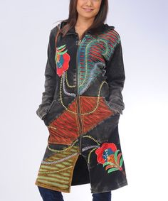 Take a look at this Black Embroidered Patchwork Long Zip-Up Hoodie by Royal Handicrafts on #zulily today!