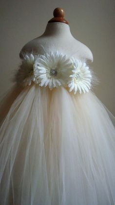 Flower girl dress Ivory Champagne tutu by Theprincessandthebou, $58.00