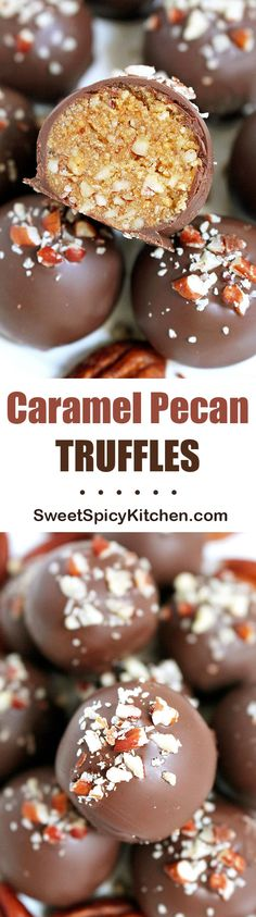 If you like chocolate, pecans and caramel sauce, I have a special recipe for you Caramel Pecan Truffles. Do you like the smell of baked pecans. Candy Recipes, Sweet Recipes, Holiday Recipes, Dessert Recipes, Just Desserts, Delicious Desserts, Yummy Treats, Sweet Treats, Toffee