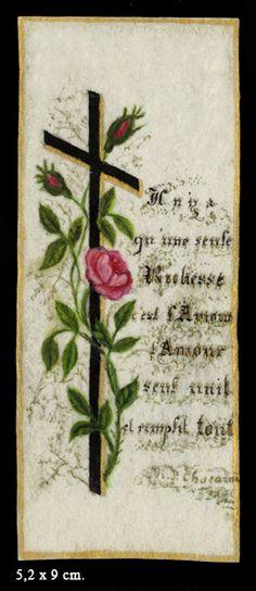 Image peinte à la main par Ste-Thérèse - Il n'y a qu'une richesse, c'est l'amour. L'amour seul unit et remplit tout.