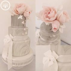 Ombre grey Marble wedding cake with silver leaf accents and blush pink sugar roses.