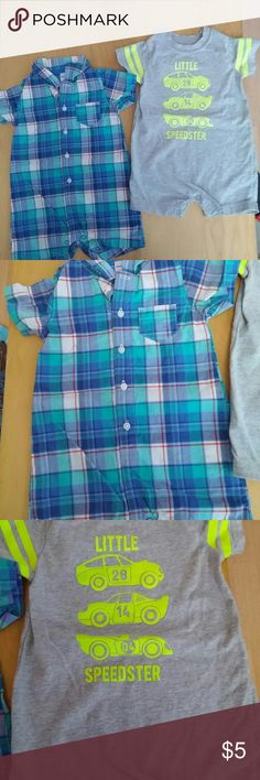 Sz. 18 mos bundle of 2 boys 1 pc romper Child of Mine by Carter's 18 mos. 100% cotton little Speedster gray and yellow romper leg snap closure.  Carter's 18-month blue and green plaid Romper. Leg snap closure.  size 18 months. See photos for details. Smoke free home.Please message me with any questions. Ask if additional size details. 15% discount for 3+ bundles.  If you like what you see please check out my closet. Happy Poshing.  608 One Pieces Bodysuits