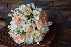 Scentsational Flower Wedding Bouquet in apricots and whites