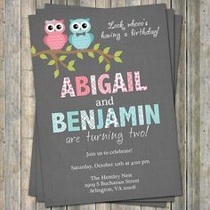 Twins birthday party invitation with owls by freshlysqueezedcards, $13.00
