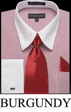 Daniel Ellissa Men's French Cuff Dress Shirt, Tie, and Hanky - Two Tone Stripe with White Collar - Clothing Connection Online