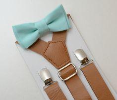 beb7595d39f281 Suspenders SET 8months - Adult Kids Mens Baby Boys Wide Brown PU Leather  Suspenders   Pastel Aqua Blue bow tie Wedding Page Boy Groom SET
