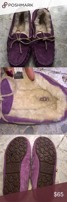 New UGG moccasins purple sz 9 New , but in my closet so may have slight signs of wear , they do have a sharpie mark on the side please see pic above UGG Shoes Moccasins