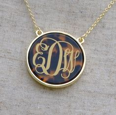 Enamel Monogram Tortoise Necklace