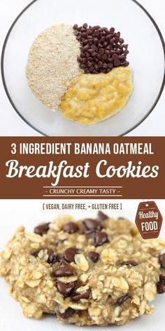 These Banana Oatmeal Breakfast are the perfect healthy, grab and go. These Banana Oatmeal Breakfast are the perfect healthy, grab and go back to school breakfast or after school snack. Oatmeal Breakfast Cookies, Healthy Oatmeal Cookies, Vegan Banana Cookies, Banana Oatmeal Muffins, Healthy Oatmeal Breakfast, Banana Chocolate Chip Cookies, Instant Oatmeal Cookies, Instant Oatmeal Recipes, Baked Oatmeal