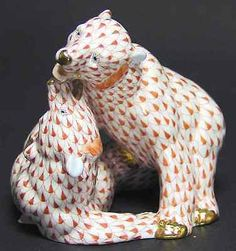 Herend Hand Painted Porcelain Figurine Two Playful Bears Rust Fishnet Gold Accents.