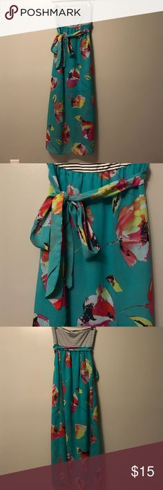 Maxi dress White and black stripe on the top with teal blue flower print on bottom with slip halfway up each side Mossimo Supply Co. Dresses Maxi