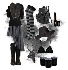 """Dark Mori Witch - Black no.1"" by bloodmoonsuccubus ❤ liked on Polyvore featuring Forever 21, LAS Jewelry, AmeriLeather, H&M, Cosabella, Lee Renee and NYX"