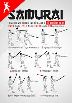 There is just never a single move that will take down a Samurai. Won't even come close, which is why in the Samurai workout, part of Darebee's Katana Week, you get to practice two-three… Gym Workout Tips, Ab Workout At Home, Workout Challenge, Kickboxing Workout, Cardio, Fighter Workout, Warrior Workout, Martial Arts Workout, Martial Arts Training
