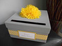 Gray and Yellow Baby Shower Card Box Gender Neutral. Chevron Pattern. Great Baby Keepsake Box!