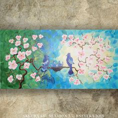 BIRD art on SAKURA TREE art love painting contemporary artwork green blue acrylic on canvas by Ksavera gift ideas for her decor by KsaveraART #TrendingEtsy