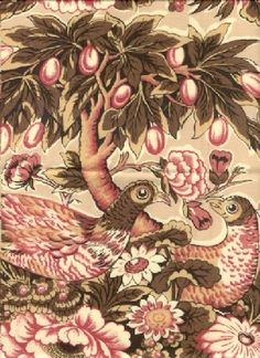 his chintz print is historically from a genre of Game Birds and Tree prints that were printed on tea, tan or medium brown backgrounds from around 1815 to 1835, but reproduction of them have been made up to the present day in the furnishing fabrics industry.