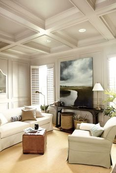 Interior full-length shutters, coffered ceiling, contrast between light and dark ...