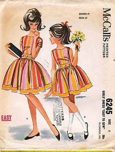 1960'S #Vintage #Mccall'S #Girls' #Dress by Helen Lee #Sewing #Pattern 6245 Size 8