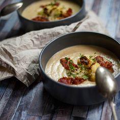 Zupa krem z pieczonego kalafiora Cheddar, Kitchen, Food, Cooking, Cheddar Cheese, Kitchens, Essen, Meals, Cuisine