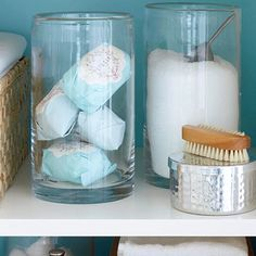 Glass jars in bathroom look very spa like