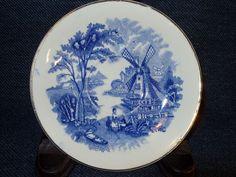 "Rare antique Palissy Ware bone china ""windmill"" dessert plate England 1900's #PalissyWare"