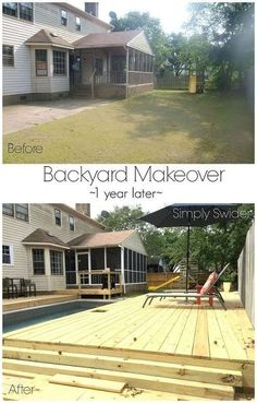 This backyard makeover oasis is amazing with a pool with waterfalls, a pool house, new fencing, and 4 new decks.http://www.hometalk.com/l/CDH