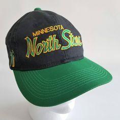 Vintage Minnesota North Stars Sports Specialties Snapback Hat Script The Twill NHL Hockey by TraSheeWomen on Etsy #nhl #northstars #minnesota #sportsspecialties #thetwill #snapback #vintage #hockey