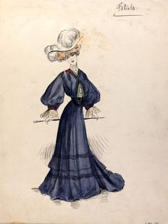 "Jeanne Paquin (1869-1936), fashion design, Paris, 1902. ""The pencil inscription 'Fabiola' is found in the top right hand corner of the design, this could refer to either the dress name, model or customer the dress was designed for. This outfit was designed for the winter collection 1903. This design is an example of the dominating popular S-Bend silhouette present in fashion designs up until around 1908..."""