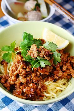 Beef noodle soup with ground chicken (mie ayam bakso), Indonesia
