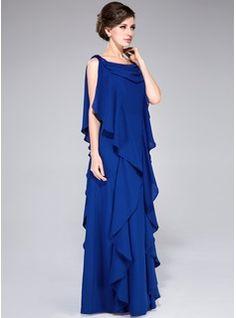 Corte A/Princesa Cuello vuelto Vestido Chifón Vestido de madrina con Bordado Lentejuelas Cascada de volantes (008040843) - JJsHouse