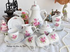 coffee set vintage floral coffee set by VintageTeaTimeByNiw