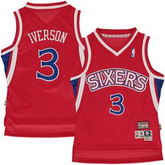 20a4cf9f401 Allen Iverson Philadelphia 76ers Mitchell & Ness Youth Hardwood Classics  Swingman Jersey – Red