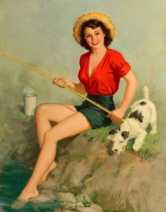Pin-Up Girl fishing with Wire Haired Fox Terrier Puppy Dog. Originally printed in the early WHY BUY REPRODUCTIONS. The original artwork from this bygone era is beginning to deteriorate…such is the nature of these things. Pin Up Vintage, Pin Up Retro, Vintage Art, Retro Art, Vintage Style, Painting Prints, Art Prints, Paintings, Pin Up Illustration