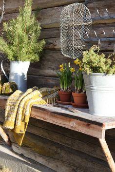Livs Lyst: vårplukk Back Patio, Spring Garden, Garden Inspiration, Firewood, Planter Pots, Sweet Home, Make It Yourself, Crafts, Patio Ideas