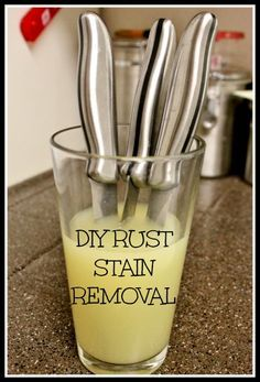 There are some nasty little rust stains on them from letting the dry in the dishwasher. I was looking at Buzzfeed, and came across an amazingly simple and inexpensive way to remove them, with little effort on your part! See tutorial ----> http://www.discountqueens.com/diy-rust-stain-removal/