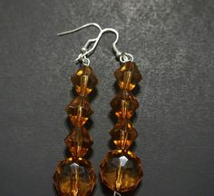 Mocca Swarovski Crystal & Pearl Beaded Dangle Earrings
