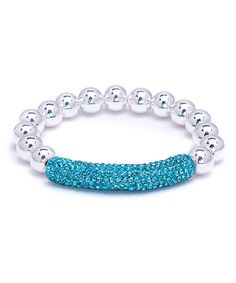 Look at this Light Turquoise Swarovski® Crystal & Sterling Silver Stretch Bracelet on #zulily today!