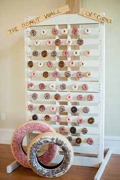 Katelyn James Photography Check out the customized donut wall!  Venue:  Willow Creek Winery Event Planner/Cake: M.Y. Stylized Events