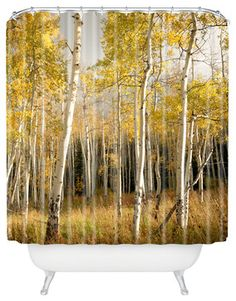 Bird Wanna Whistle Golden Aspen Shower Curtain rustic-shower-curtains