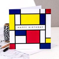 Tarjeta de cumpleaños; Tarjeta de feliz cumpleaños; Mondrian; Estilo de Piet Mondrian; Tarjeta para el arte de los amantes; GC207