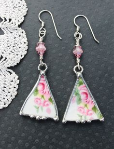 Broken China Jewelry Earrings Triangle Pink by Robinsnestcreation1