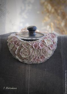 Купить Воротничок Пудровая Роза - кремовый, розовый, нежно-розовый, нежность, нежное украшение, воротничок