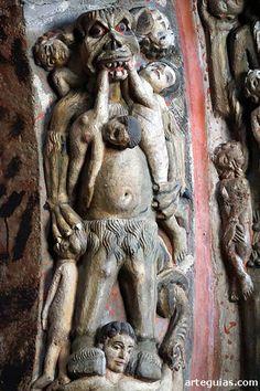 Pórtico Catedral de Ourense.Diablo y condenados