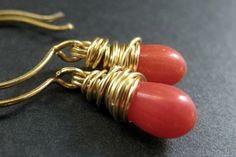 14K GOLD Earrings - Orange Coral Earrings. Orange Teardrop Earrings. Wire Wrapped Earrings. Handmade Jewelry. by TheTeardropShop from The Teardrop Shop. Find it now at http://ift.tt/1nFS0Bt!