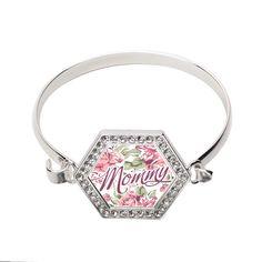Mommy Floral Hexagon Bracelet #family #love #mommy #inspiredsilver