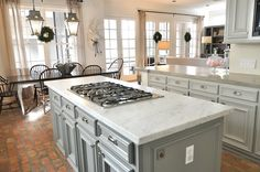 Gray cabinets with light countertop