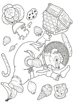 """""""Hedgie Blasts off"""" coloring pages by Jan Brett"""